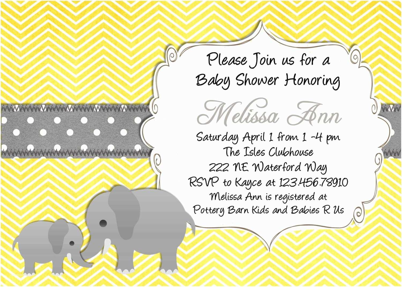Yellow and Gray Baby Shower Invitations Yellow Elephant Baby Shower Invitation Yellow and Gray