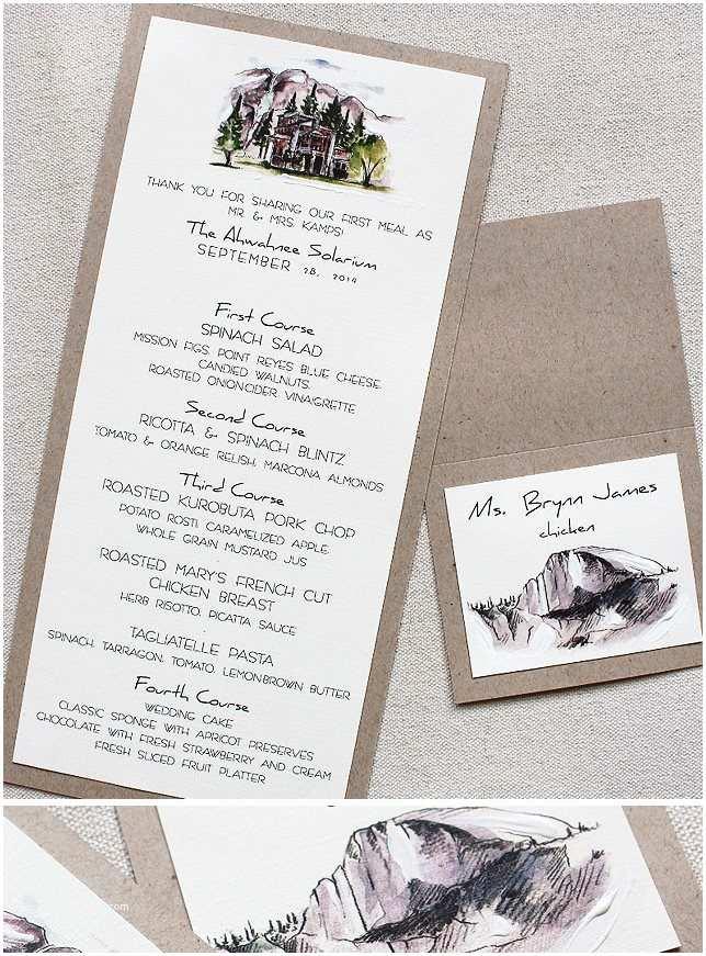 Yosemite Wedding Invitations Amanda S Watercolor Yosemite Landscape Wedding