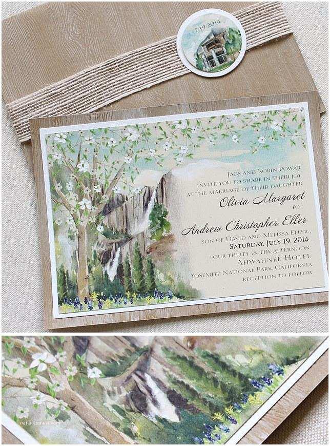 Yosemite Wedding Invitations Robin P Watercolor Yosemite Wedding Invitationsmomental