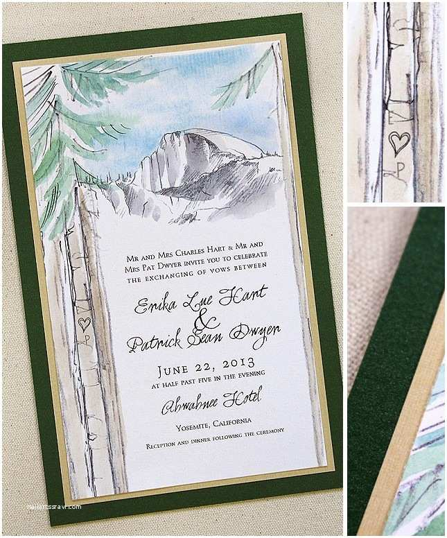 Yosemite Wedding Invitations Watercolor Yosemite Pine Tree Wedding Invitationsmomental