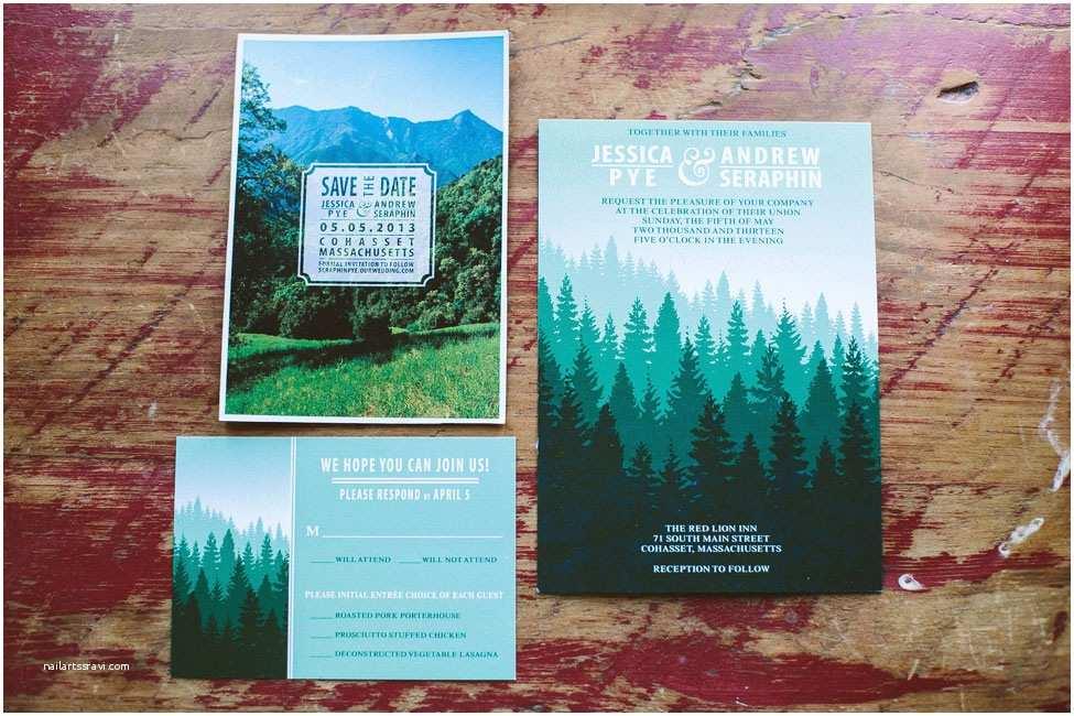 Yosemite Wedding Invitations Yosemite National Park Rustic Red Lion Inn Massachusetts