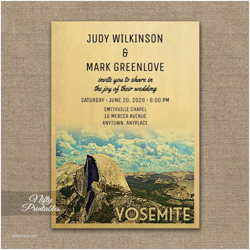 Yosemite Wedding Invitations Yosemite Wedding Invitation Printed Nifty Printables