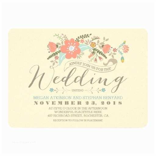 Zazzle Com Wedding Invitations Cute Floral Wedding Invitation
