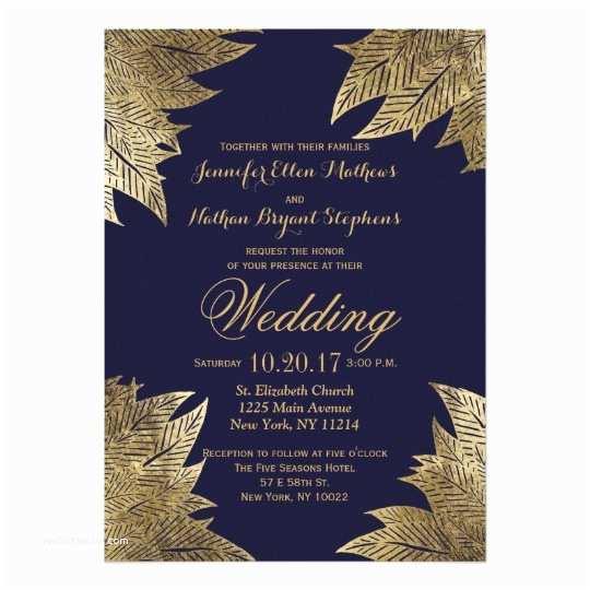 Zazzle Com Wedding Invitations Gold Leaves On Navy Blue Wedding Invitations