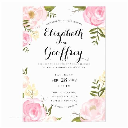 Zazzle Com Wedding Invitations Modern Vintage Pink Floral Wedding Invitation