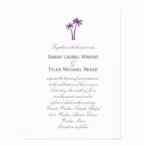 Zazzle Com Wedding Invitations Palm Trees Wedding Invitation Purple