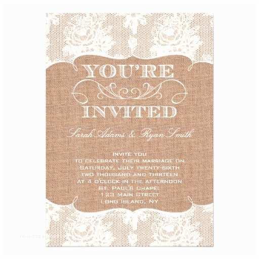 Zazzle Com Wedding Invitations Rustic Burlap Print & Lace Wedding Invitation