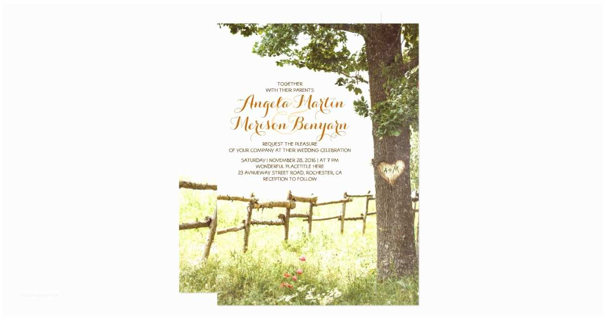 Zazzle Com Wedding Invitations Rustic Country Heart Tree Wedding Invitation