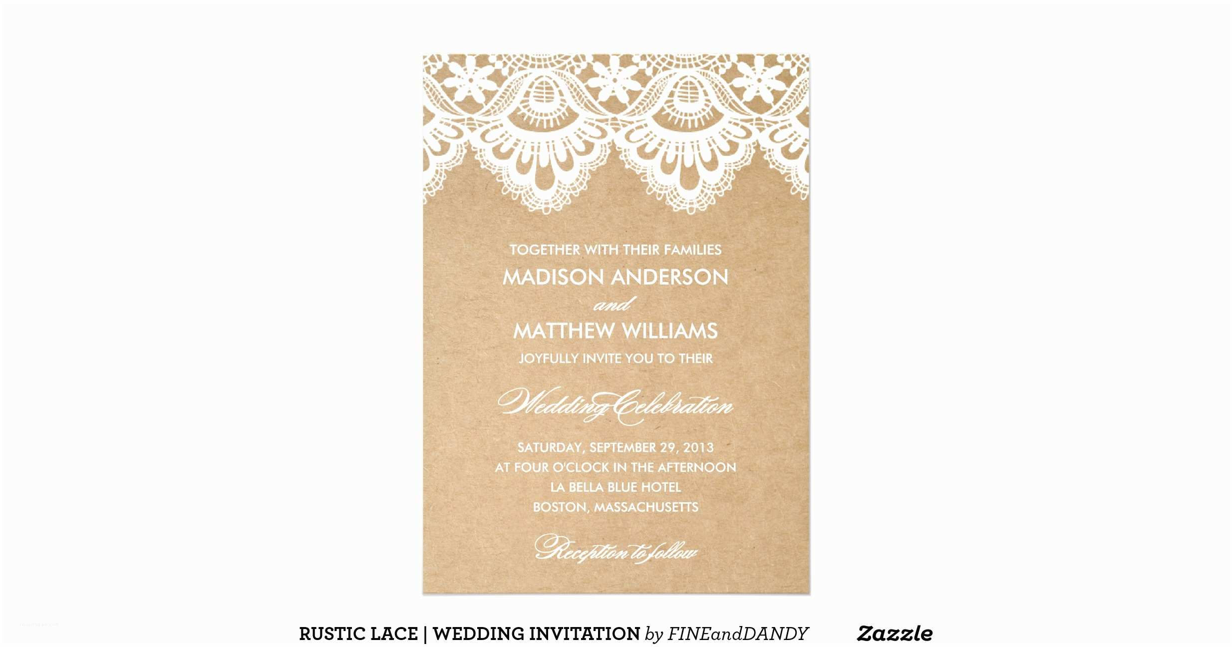 Zazzle Com Wedding Invitations Rustic Lace Wedding Invitation