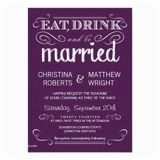 "Zazzle Com Wedding Invitations Rustic Typography Plum Purple Wedding Invitations 4 5"" X 6"