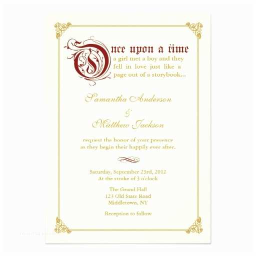Zazzle Com Wedding Invitations Storybook Fairytale Wedding Invitation Red Gold
