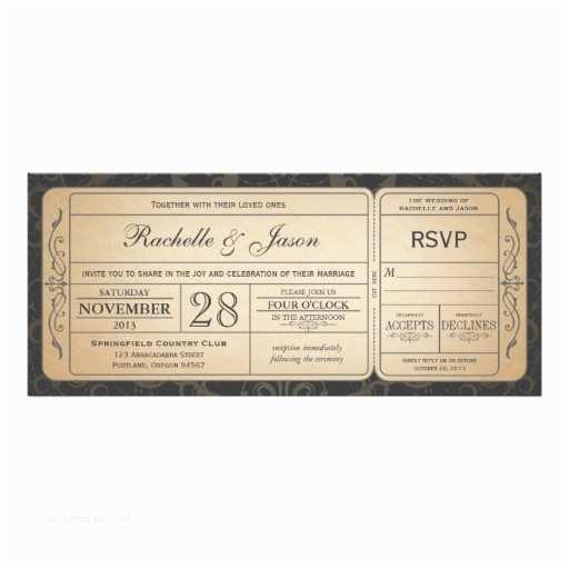Zazzle Com Wedding Invitations Vintage Wedding Ticket Invitation with Rsvp 3 0