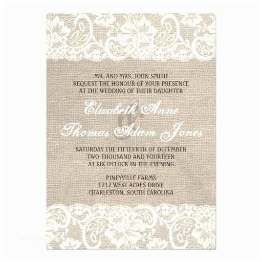 Zazzle Rustic Wedding Invitations Lace Look Rustic Burlap Wedding Invitation