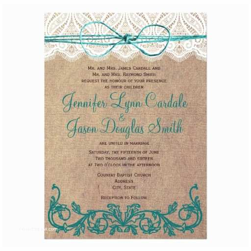 Zazzle Rustic Wedding Invitations Rustic Country Lace Brown Teal Wedding Invitations