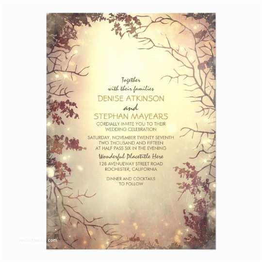 Zazzle Rustic Wedding Invitations Trees and String Lights Rustic Wedding Invitation