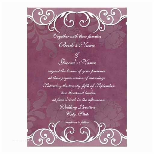 """Zazzle Wedding Invitations Plum Rose Elegant Wedding Invitations 5"""" X 7"""" Invitation"""