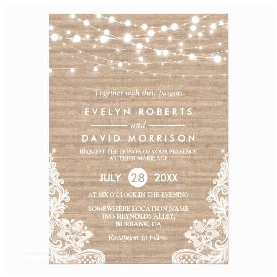 Zazzle Wedding Invitations Rustic Country Burlap String Lights Lace Wedding Card