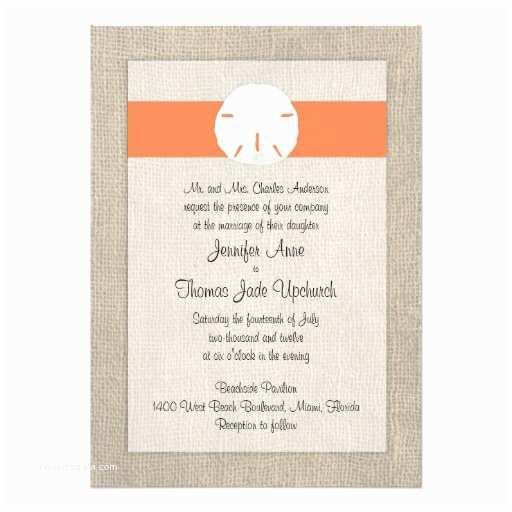 Zazzle Wedding Invitations Sand Dollar Beach Wedding Invitation orange