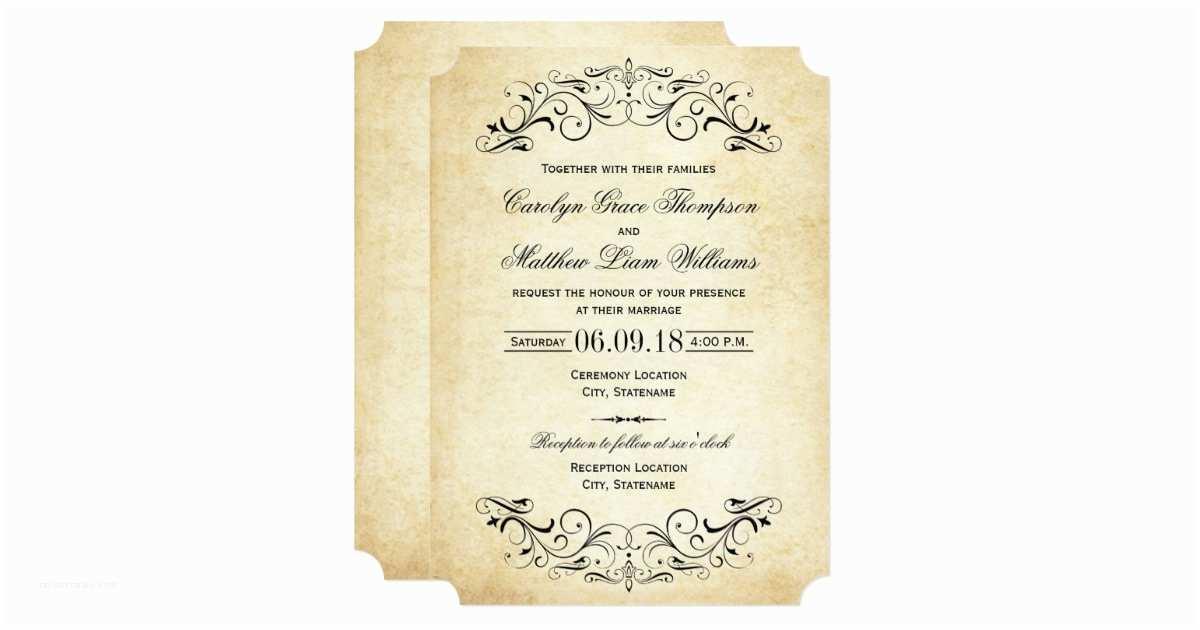Zazzle Wedding Invitations Vintage Wedding Invitations Elegant Flourish