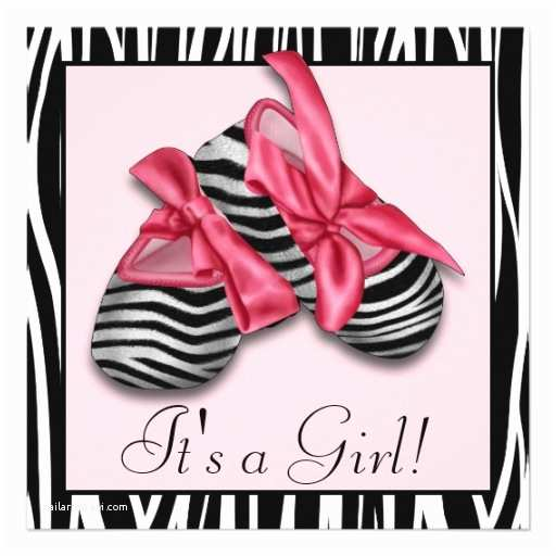 black pink zebra baby shower invitations