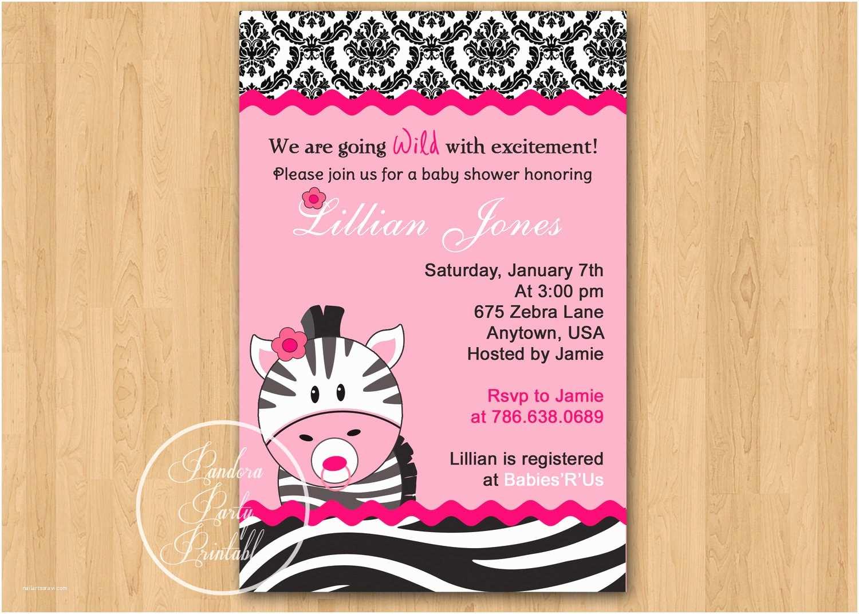 Zebra Baby Shower Invitations Hot Pink Zebra Baby Shower Invitation Diy Custom Printable