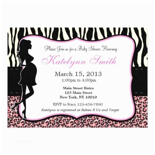 """Zebra Baby Shower Invitations Leopard and Zebra Print Baby Shower Invitation 5"""" X 7"""