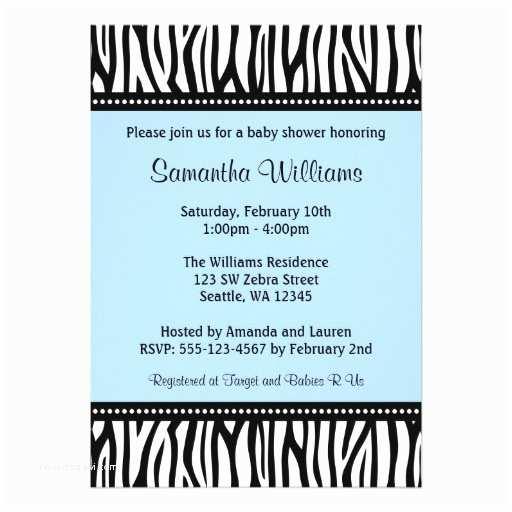 """Zebra Baby Shower Invitations Trendy Blue Zebra Boy Baby Shower 5"""" X 7"""" Invitation Card"""