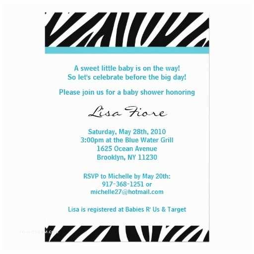 Zebra Baby Shower Invitations Trendy Blue Zebra Print Baby Shower Invitations