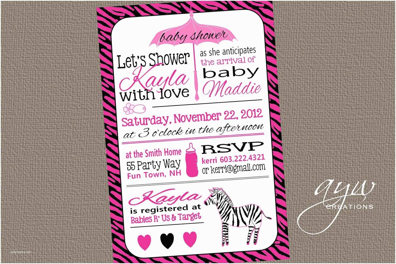 Zebra Baby Shower Invitations Zebra Baby Shower Invitation Girl Invitation Zebra Baby Shower