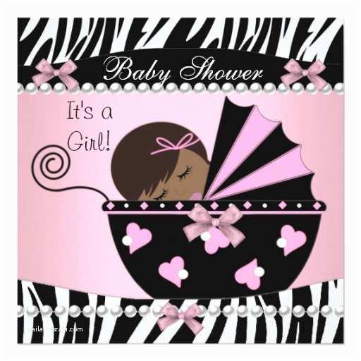 Zebra Print Baby Shower Invitations Baby Shower Cute Baby Girl Pink Zebra Print Announcements