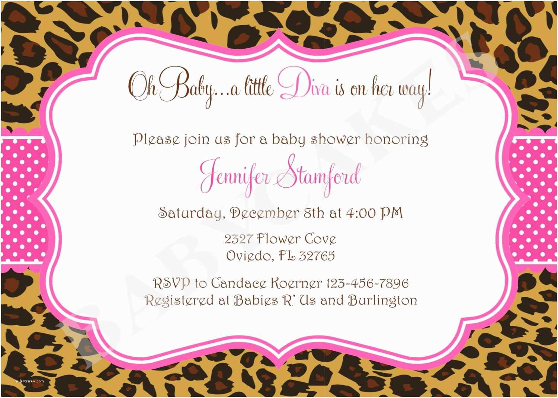 Zebra Print Baby Shower Invitations Baby Shower Invitations Leopard and Cheetah Print Baby