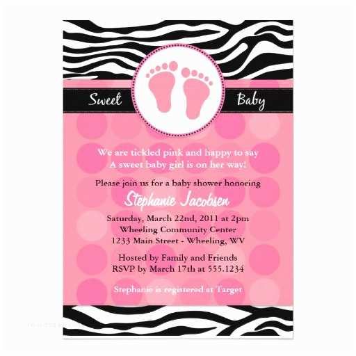 "Zebra Print Baby Shower Invitations Mod Zebra Print Baby Shower Invitations 5"" X 7"" Invitation"