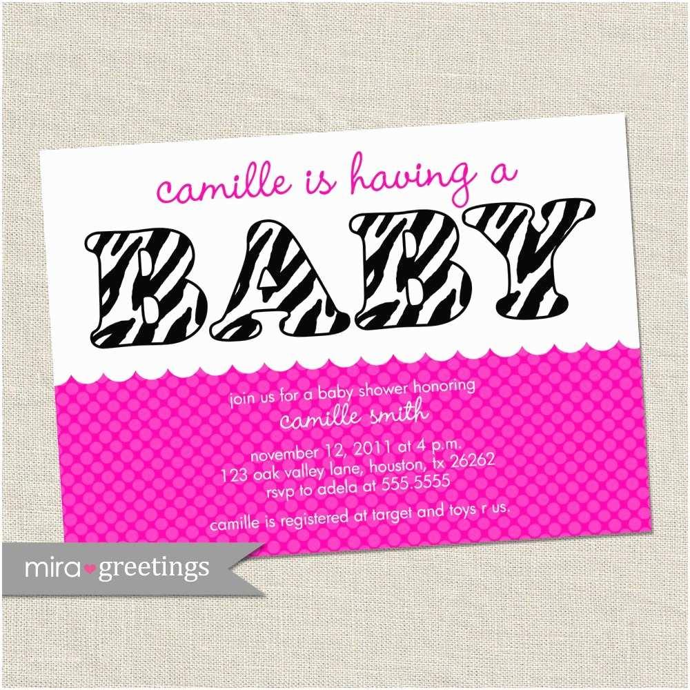 Zebra Print Baby Shower Invitations Pink Zebra Baby Shower Invitations Baby Girl Invites