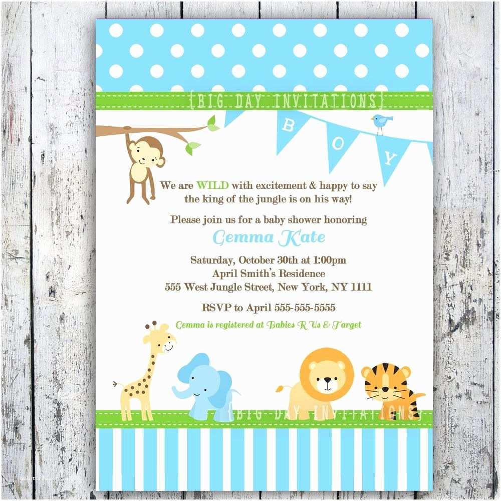 Zebra Print Baby Shower Invitations Safari Baby Shower Invitations Jungle Animal theme